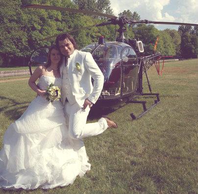 arrivée hélico mariage blog souriez rose