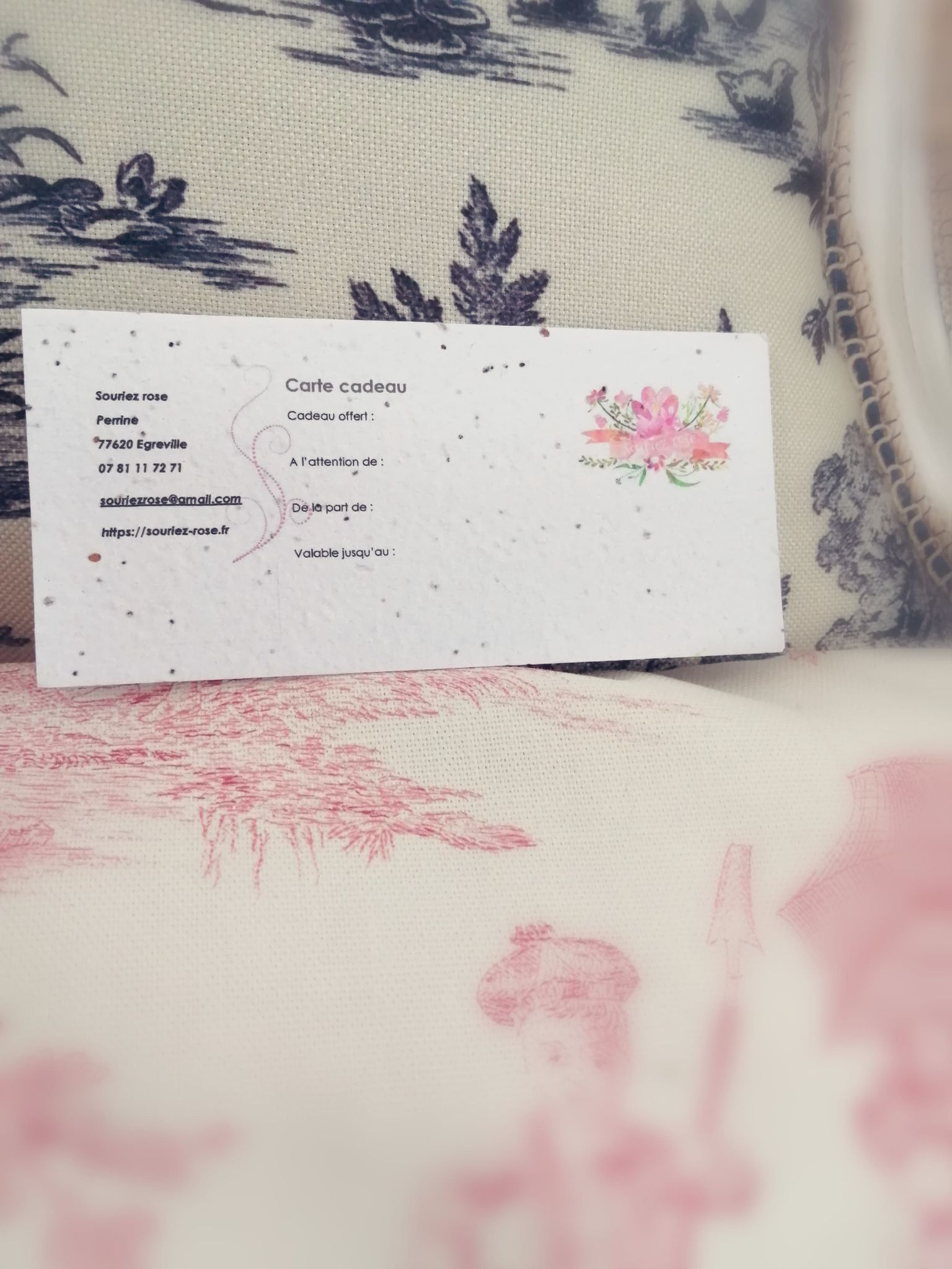 Carte cadeau à planter Souriez rose