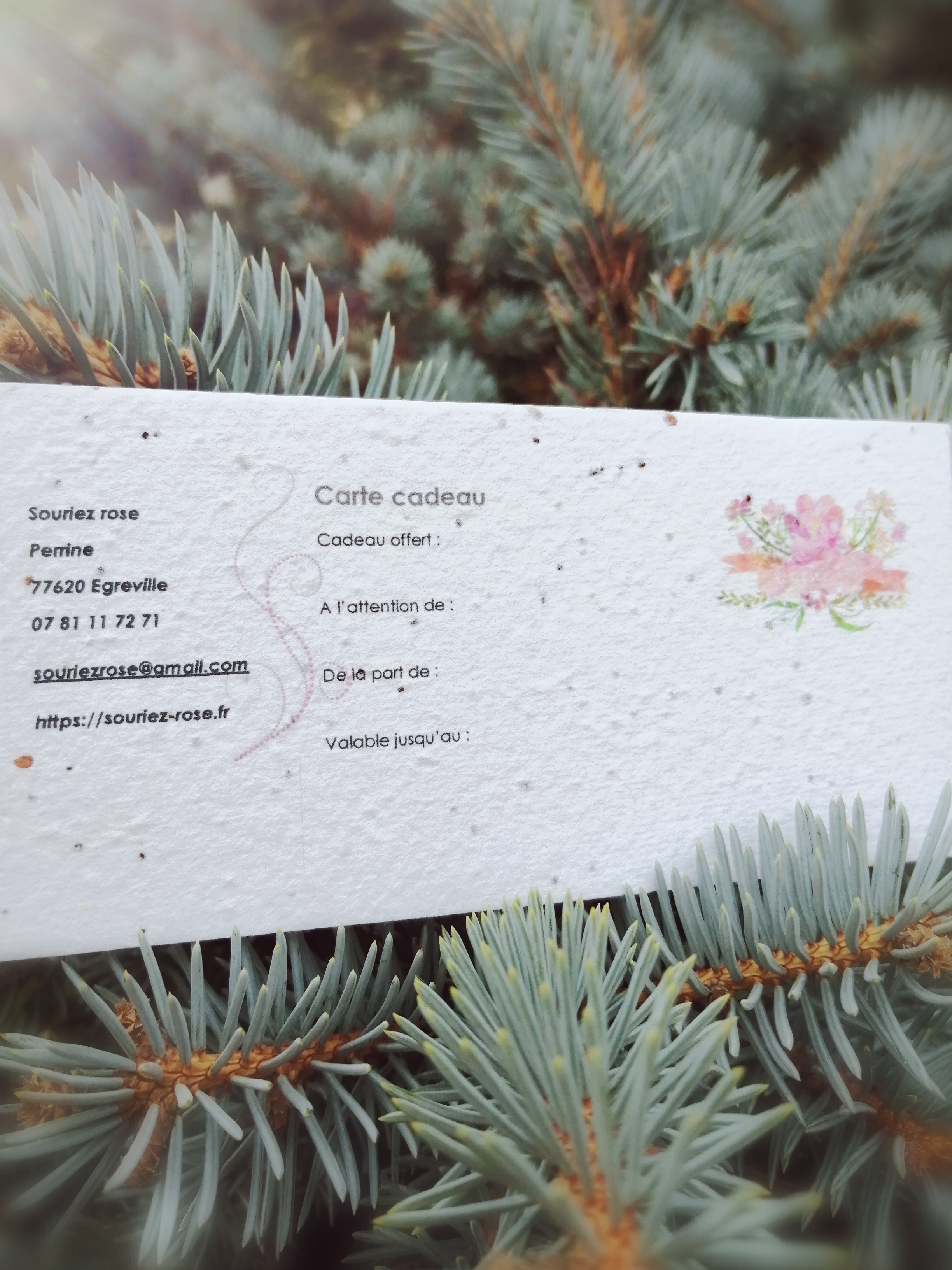 Boutique nature Souriez rose carte cadeau naturopathie à planter